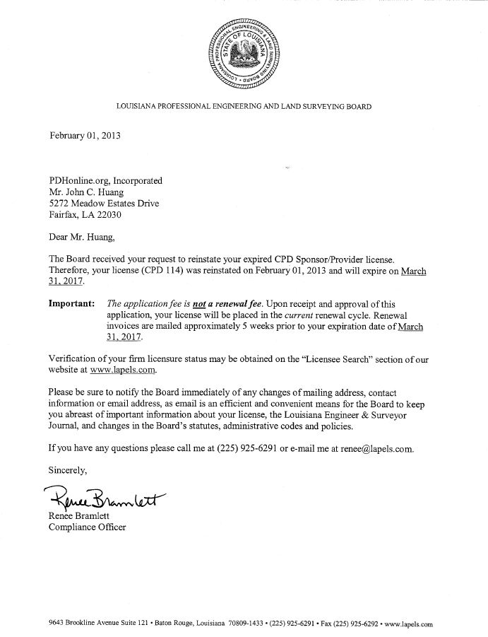 Louisiana Board Approval Letter